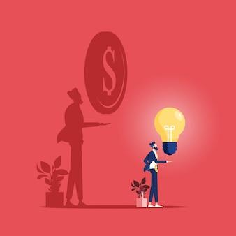Geschäftsmann mit ideenbirne und seinem schatten bekommen geld