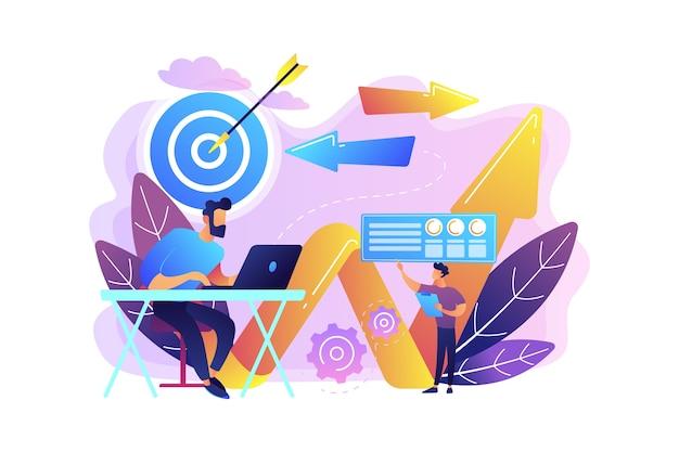 Geschäftsmann mit laptop, ziel und pfeilen. geschäftsrichtung und strategie, turnaround- und richtungsänderungskampagnenkonzept