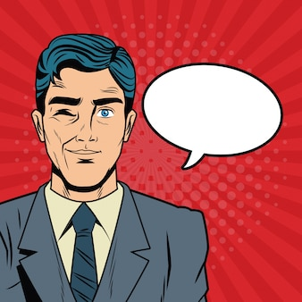 Geschäftsmann mit luftblasenpop-arten-karikatur