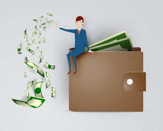 Geschäftsmann mit mappen- und bargeldpapierillustrationsvektor