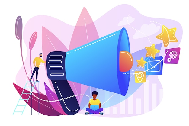 Geschäftsmann mit megaphon fördern medienikonen. verkaufsförderung und marketing, werbestrategie, werbeartikelkonzept