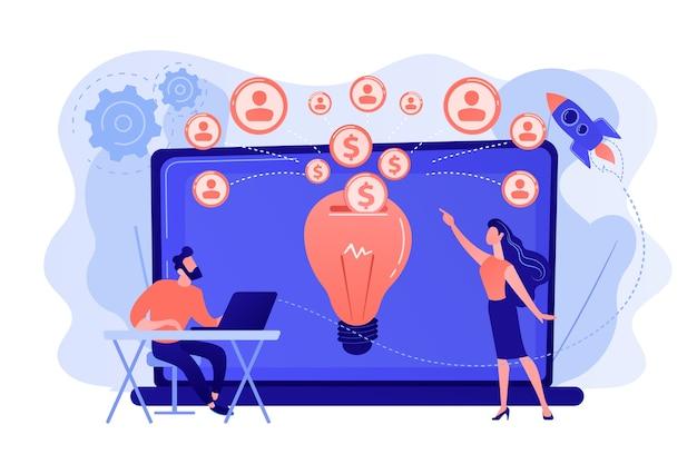 Geschäftsmann mit neuem projekt am laptop und leuten, die es über internet finanzieren. crowdfunding, crowdsourcing-projekt, alternatives finanzierungskonzept. isolierte illustration des rosa korallenblauvektors