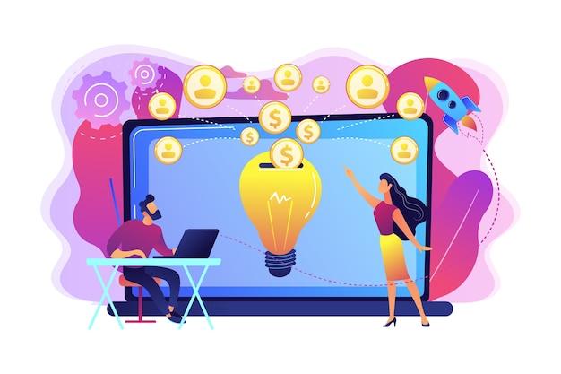 Geschäftsmann mit neuem projekt am laptop und leuten, die es über internet finanzieren. crowdfunding, crowdsourcing-projekt, alternatives finanzierungskonzept.