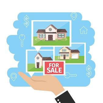 Geschäftsmann mit realem zustandseigentum der häuser für verkauf