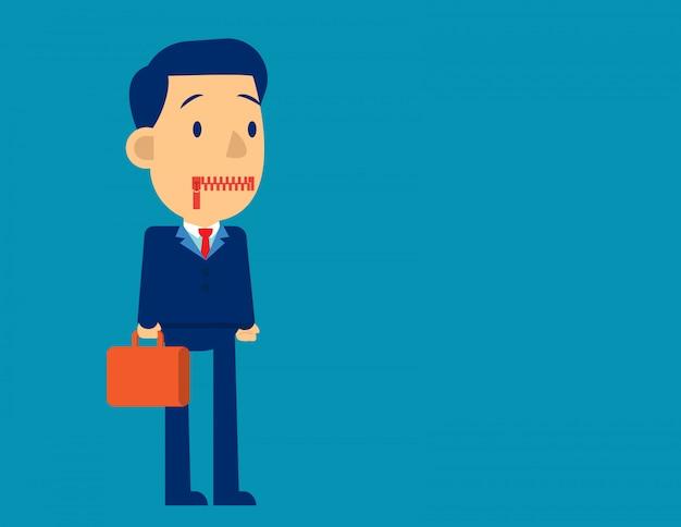 Geschäftsmann mit reißverschluss den mund