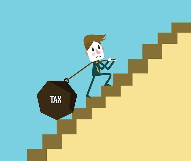 Geschäftsmann mit schweren steuer während auf der treppe hoch. zusammenfassung hintergrund auf die gewerbesteuerbelastung. flache design-elemente. vektor-illustration