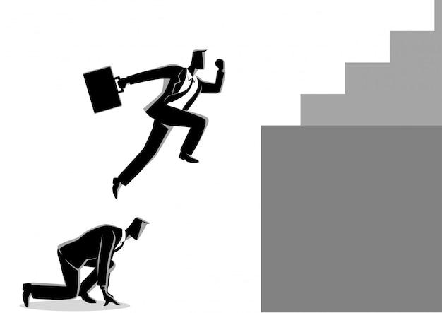 Geschäftsmann mit seinem freund als sprungbrett höher springen