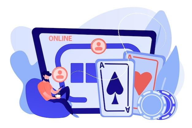 Geschäftsmann mit smartphone, das online-poker und kasinotisch mit karten und chips spielt. online poker, internet glücksspiel, online casino zimmer konzept. isolierte illustration des rosa korallenblauvektors