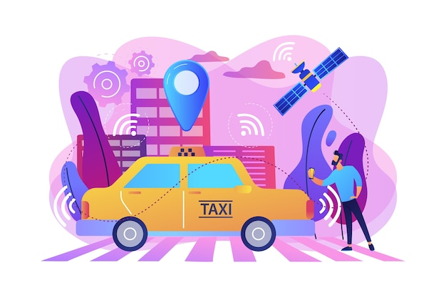 Geschäftsmann mit smartphone, der fahrerloses taxi mit sensoren und ortungsstift nimmt. autonomes taxi, selbstfahrendes taxi, on-demand-autoservicekonzept. helle lebendige violette isolierte illustration