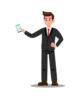 Geschäftsmann mit smartphone-vektor-illustration