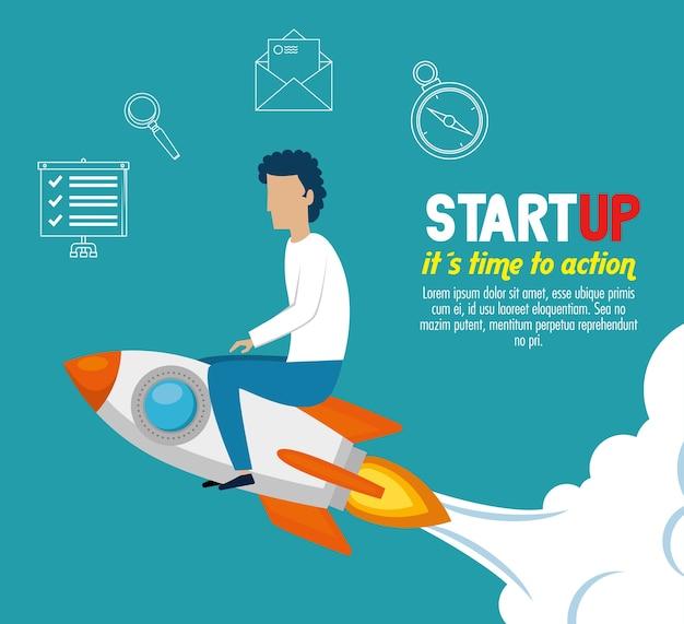 Geschäftsmann mit start-up-set symbole