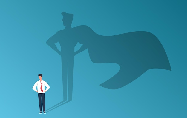 Geschäftsmann mit superheldenschatten. professioneller ehrgeiz der führung, leistung und geschäftserfolg, starker mann mit innerem führungspotenzial, kreatives vektorflachkarikaturkonzept der karrieremotivation