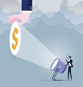 Geschäftsmann mit taschenlampe und dollarzeichen