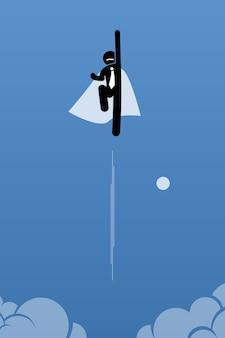 Geschäftsmann mit umhang, der zum himmel fliegt. die grafik zeigt macht, durchbruch, quantensprung und erfolg.