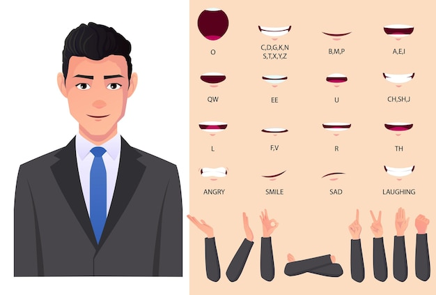 Geschäftsmann mundanimationssatz und lippensynchronisation mit kaukasischem mann im grauen anzug premium-vektor