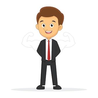 Geschäftsmann oder büromann mit gezogenen starken armen