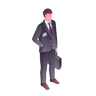 Geschäftsmann- oder bürovorsteherillustration. lokalisierter gesichtsloser chefmann oder -verkäufer