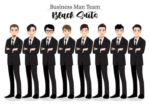 Geschäftsmann oder männlicher charakter verschränkte arme posieren in schwarzer anzugillustration.