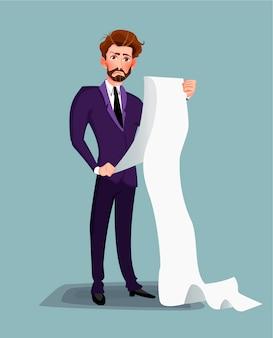 Geschäftsmann oder männlicher rechtsanwalt, die lange papierliste lesen.