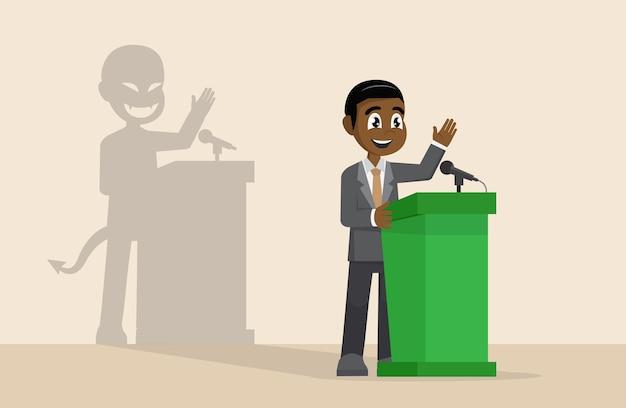 Geschäftsmann oder politiker in der klage an der tribüne