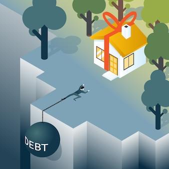 Geschäftsmann oder verbraucher mit schuldengewicht klettert aus dem abgrund. haus und schulden, hypothek und immobilien. vektorillustration