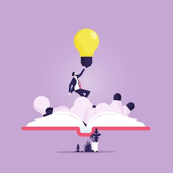 Geschäftsmann offenes buch wirft leuchtende glühbirne verwenden informations-kommunikationstechnologien im bildungsprozess