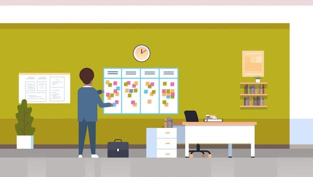 Geschäftsmann planungsarbeit agenda wöchentliche besprechung zeitplan task board mit haftnotizen geschäftsplanung nachrichten ereignisse zeitplan konzept büro innenraum horizontale rückansicht in voller länge