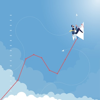 Geschäftsmann reitet auf papierflugzeug, das geschäftsfinanzierungswachstumstabelle linie zieht, die nach oben fliegt