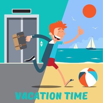 Geschäftsmann rennt vom büro in den urlaub. vektor-illustration