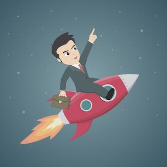Geschäftsmann riding red rocket auf nachthimmel hintergrund.