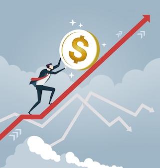 Geschäftsmann rollen eine dollarmünze oben auf pfeil. unternehmenskonzept