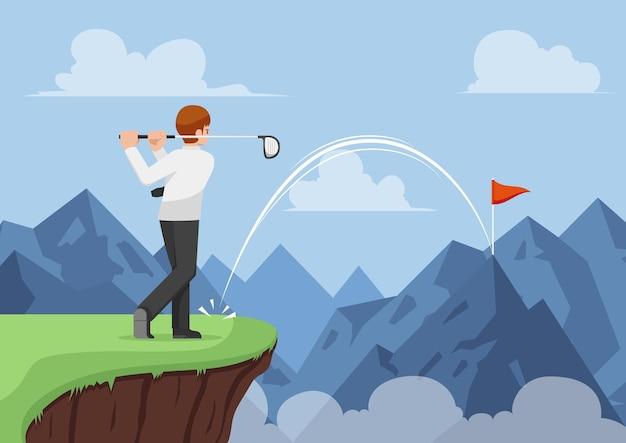 Geschäftsmann schlug golf und machte ein loch in einem über den berg. geschäftserfolg und effektives führungskonzept.