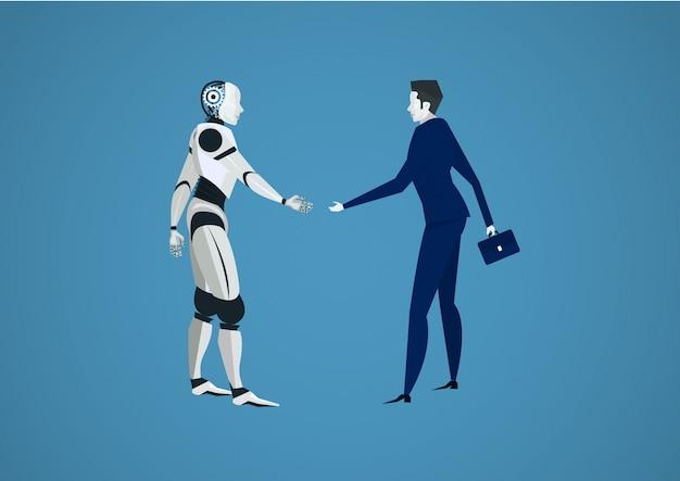 Geschäftsmann schütteln roboter hand für investitionen. mensch gegen roboter futuristisch