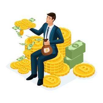 Geschäftsmann sitzt auf einem hügel von goldmünzen kryptowährung, ico, bitcoin, dollar, bargeld, verdient viel geld, karriereleiter