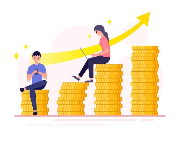 Geschäftsmann sitzt auf einem stapel goldmünzen, die an seinem telefon arbeiten. geschäftsfrau, die auf einem stapel goldmünzen sitzt und am laptop arbeitet. stapel goldmünzen. geld verdienen.