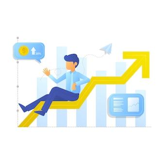 Geschäftsmann sitzt auf einer grafik von steigenden und steigenden gewinnen