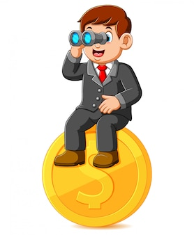 Geschäftsmann sitzt auf münzdollar und hält fernglas