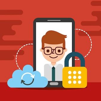 Geschäftsmann smartphone cloud-cyber-sicherheit