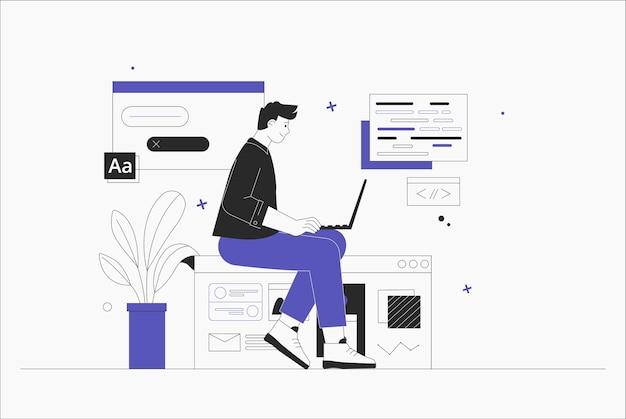 Geschäftsmann, smm-manager, programmierer, sitzen auf infografik und arbeiten am laptop. freiberufler, der an der web- und anwendungsentwicklung auf computern arbeitet. softwareentwickler. flache artvektorillustration.