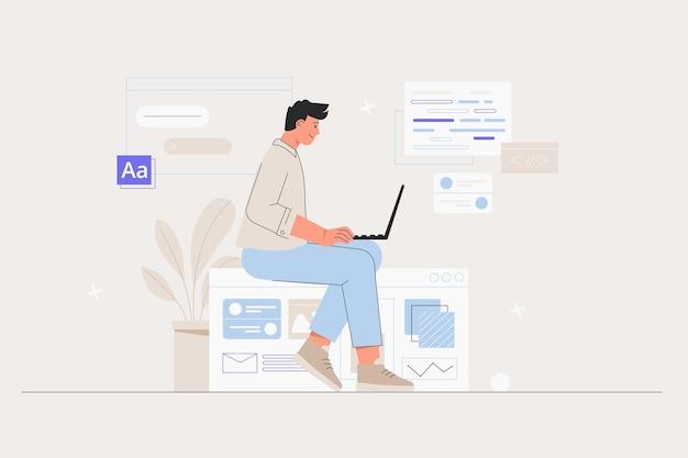 Geschäftsmann smm manager programmierer sitzen auf infografik und arbeiten am laptop