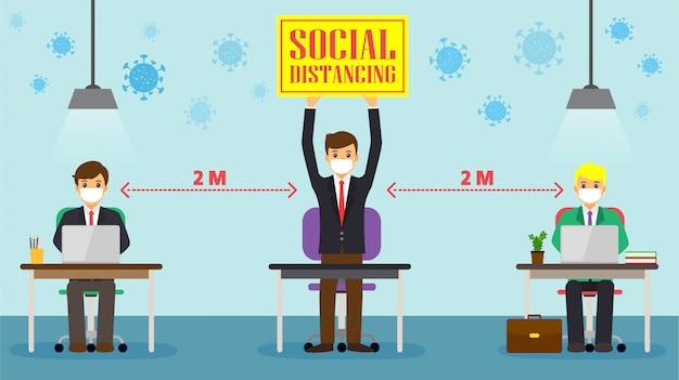 Geschäftsmann, soziale distanzierung am büroarbeitsplatz. die mitarbeiter arbeiten am schreibtisch zusammen, um abstand zum covid 19-virus zu halten