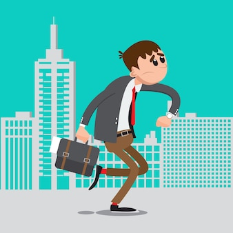 Geschäftsmann spät zur arbeit. mann beeilen sich zur arbeit. vektor-illustration