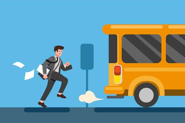 Geschäftsmann spät zur arbeit oder zu einem treffen. mitarbeiter läuft hinter dem bus her. cartoon flache illustration