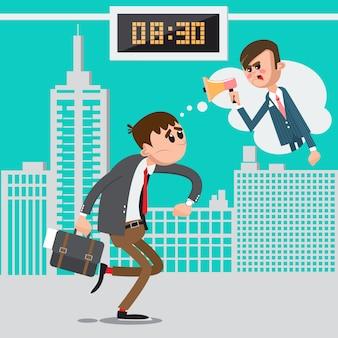 Geschäftsmann spät zur arbeit. verärgerter chef, der im megaphon schreit. mann beeilen sich zur arbeit. vektor-illustration