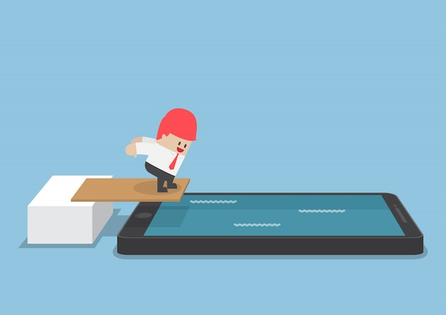 Geschäftsmann springen in smartphone-pool