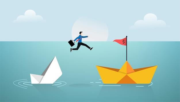 Geschäftsmann springen über neues papierschiffkonzept. geschäftssymbolillustration