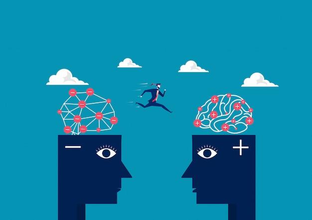Geschäftsmann springen zwischen hauptnegativem, um positives denkendes hauptkonzept