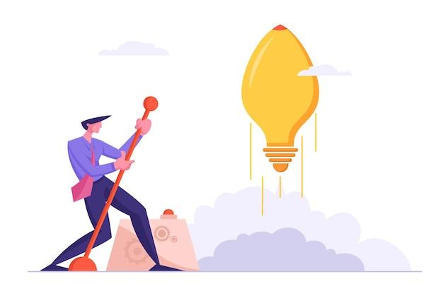 Geschäftsmann startet riesige glühbirne in form eines raketenbewegungshebelarms, start des geschäftsprojekts