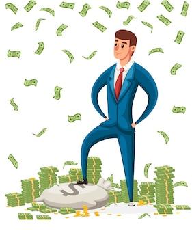 Geschäftsmann stehen auf einem haufen geld. geschäftsmann, der unter geldregen steht. charakter.