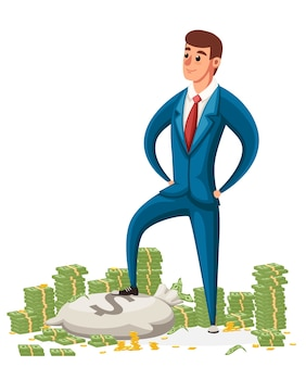 Geschäftsmann stehen auf einem haufen geld. geschäftsmann im blauen anzug. charakter.